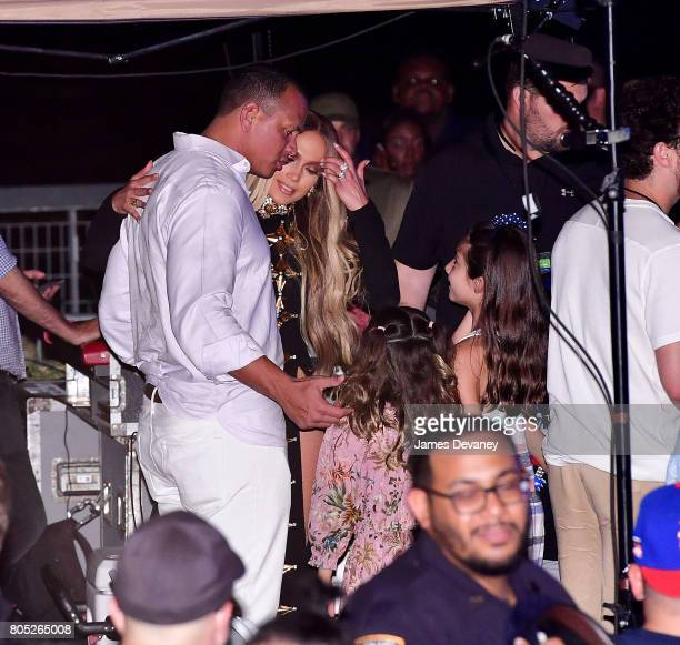 Alex Rodriguez and Jennifer Lopez seen at the Macy's 4th of July Firework Show at Hunter's Point South Park on June 30 2017 in New York City
