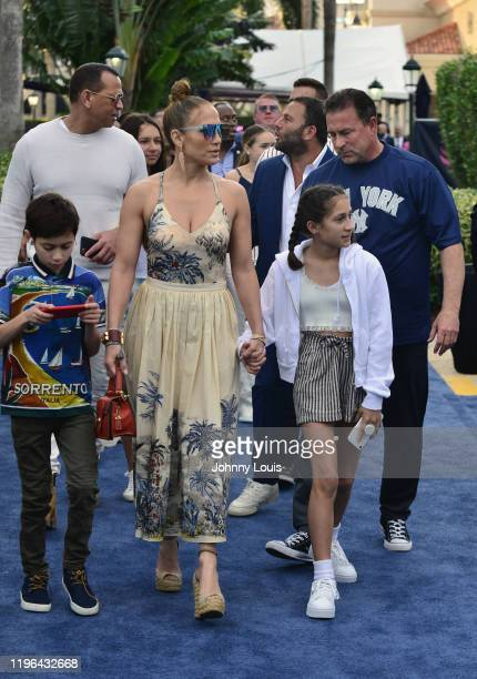 Alex Rodriguez and Jennifer Lopez with children Emme Maribel Muñiz and Maximilian David Muñiz at the 2020 Pegasus World Cup Championship Invitational...