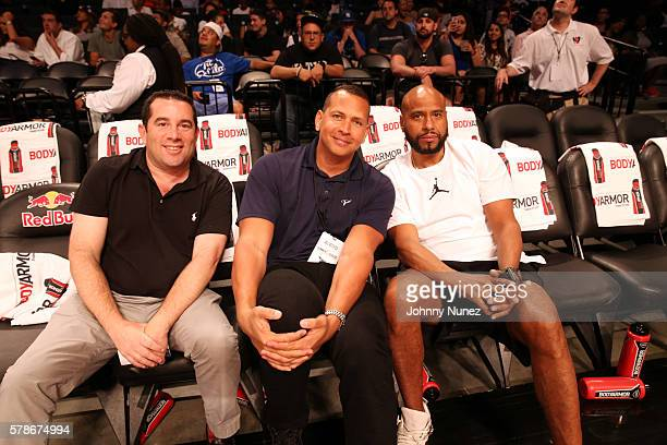 Alex Rodriguez and Juan OG Perez attend the 2016 Roc Nation Summer Classic Charity Basketball Tournament at Barclays Center of Brooklyn on July 21...