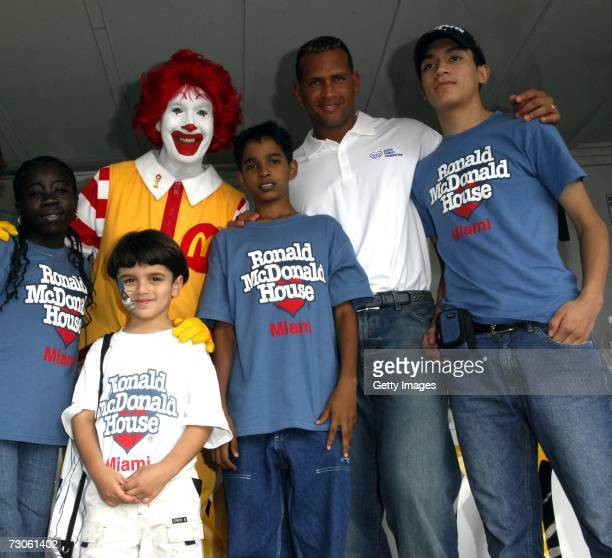 Alex Rodriguez and kids pose with Ronald McDonald at Family Fun Day benefiting the AROD Family Foundation and Ronald McDonald House Charities at The...