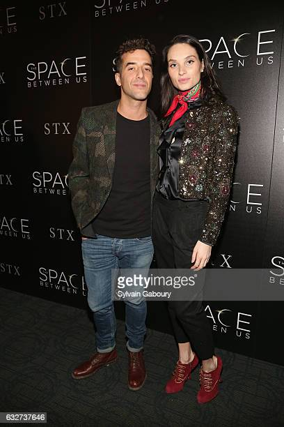 """Alex Rodriguez and Morganne Wray attend STX Entertainment with The Cinema Society Host a Screening of """"The Space Between Us"""" on January 25, 2017 in..."""