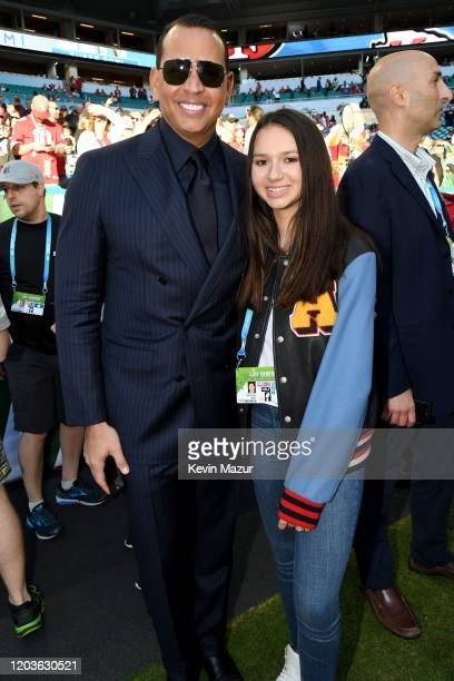 Alex Rodriguez and Natasha Alexander Rodriguez attend Super Bowl LIV at Hard Rock Stadium on February 02 2020 in Miami Gardens Florida