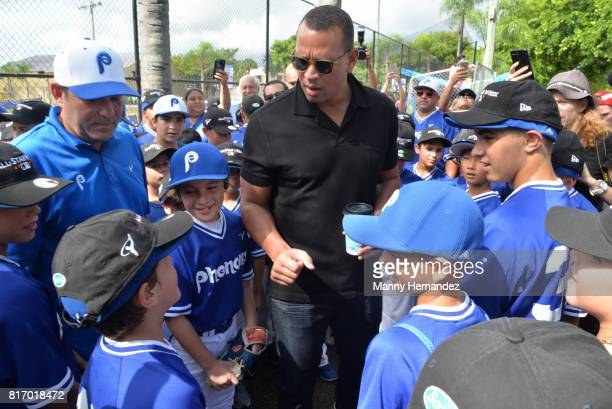 Alex Rodriguez at the MLB All Star Week Miami Ribbon Cutting at the Boys and Girls Club Kendall Teen Center on July 11 2017 in Miami Florida