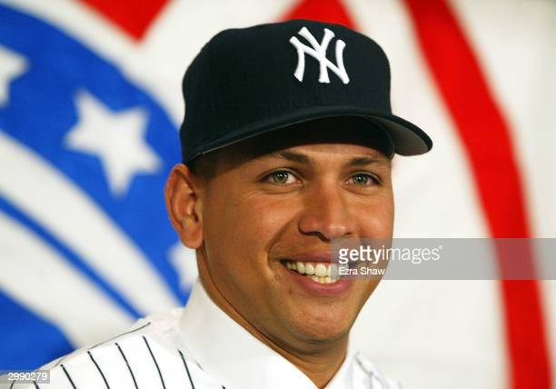 Alex Rodriguez attends a press conference that announced him as the newest New York Yankee on February 17 2004 at Yankee Stadium in the Bronx New...