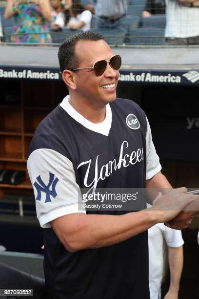 Alex Rodriguez attends CC Sabathia's PitCChIn Foundation Celebrity Softball Game at Yankee Stadium on June 28 2018 in New York City