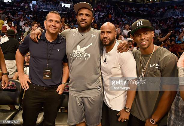 Alex Rodriguez CC Sabathia Roc Nation Sports President Juan Perez and Victor Cruz attend the Roc Nation Summer Classic Charity Basketball Tournament...