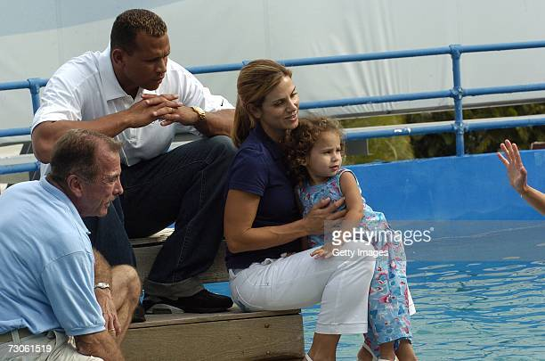 Alex Rodriguez daughter Natasha Alexander wife Cynthia and trainers watch for a whale at Family Fun Day benefiting the AROD Family Foundation and...