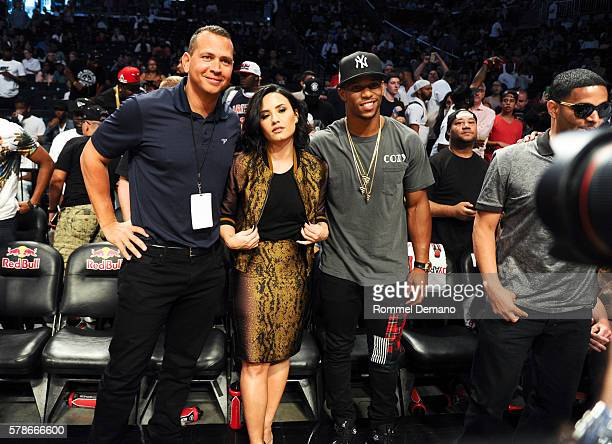 Alex Rodriguez Demi Lovato and Victor Cruz attend 2016 Roc Nation Summer Classic Charity Basketball Tournament at Barclays Center of Brooklyn on July...