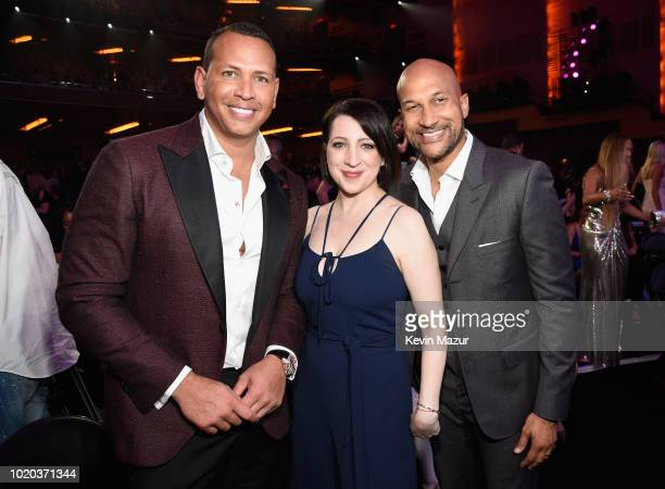Alex Rodriguez Elisa Pugliese and Keegan Michael Key inside the 2018 MTV Video Music Awards at Radio City Music Hall on August 20 2018 in New York...