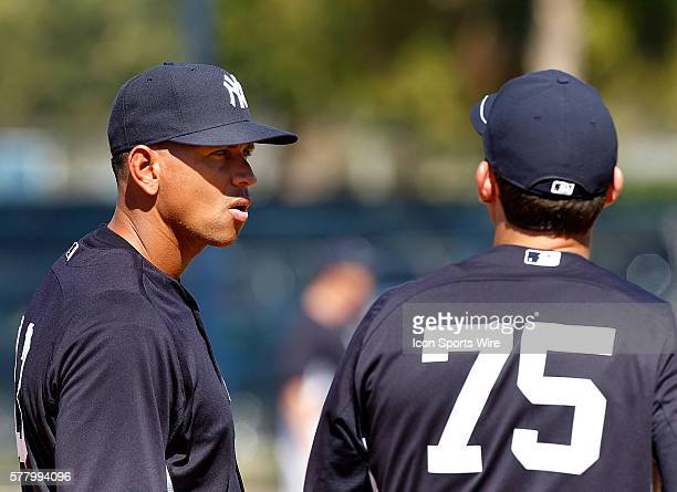 Alex Rodriguez gives instructions to Brandon Laird during the Yankees spring training workout at George Steinbrenner Field in Tampa Florida
