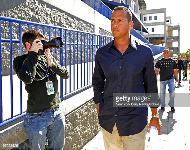 Alex Rodriguez holds press conference to address his steroid use at Yankees Spring Training at George M. Steinbrenner Field. Rodriguez walks to...