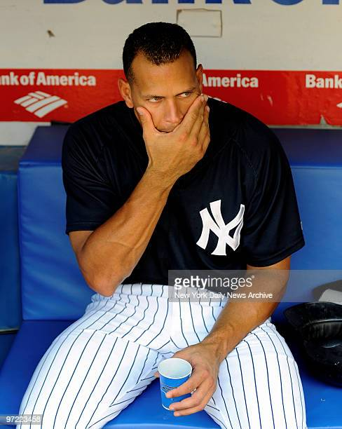 Alex Rodriguez in the Yankee dugout before the game againt Boston Red Sox.