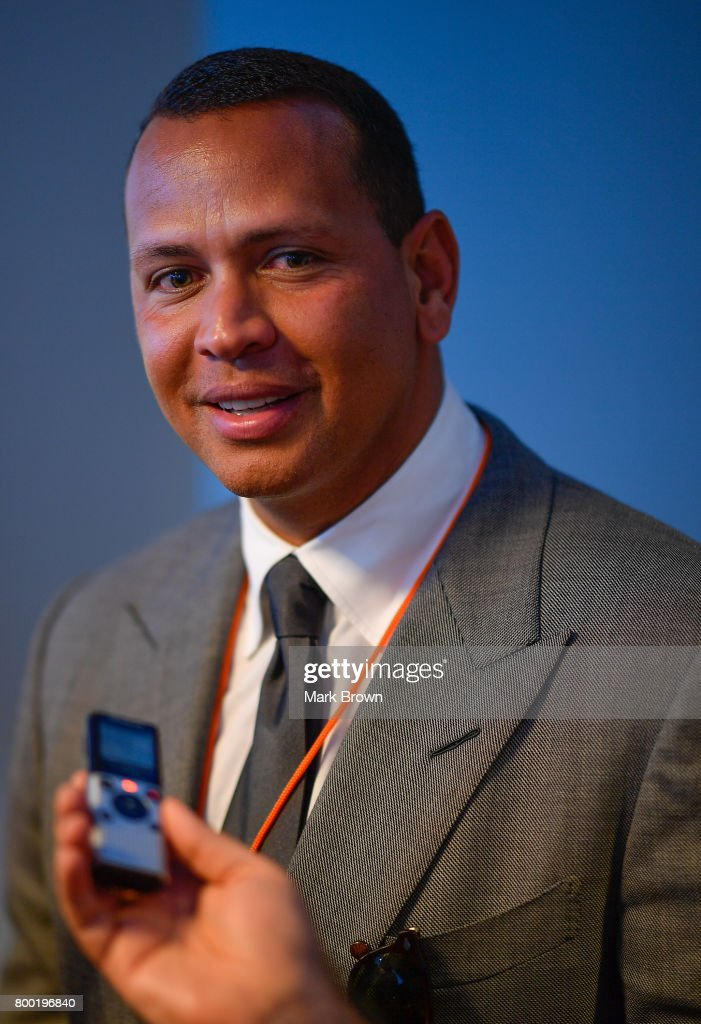 Alex Rodriguez is interviewed before the game between the Miami Marlins and the Chicago Cubs at Marlins Park on June 23, 2017 in Miami, Florida.