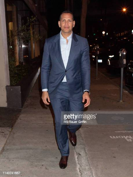 Alex Rodriguez is seen at Craig's restaurant on April 29 2019 in Los Angeles California