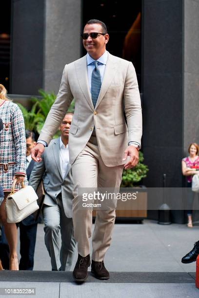 Alex Rodriguez is seen in Midtown on August 17 2018 in New York City