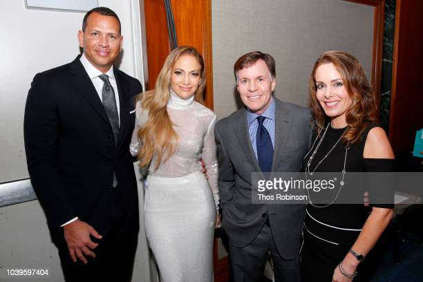Alex Rodriguez Jennifer Lopez Bob Costas and Jill Sutton attend the 33rd Annual Great Sports Legends Dinner which raised millions of dollars for the...