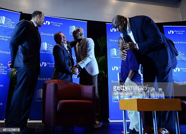 Alex Rodriguez Mike Fernandez Carson Sylvestre Ray Allen and Earvin 'Magic' Johnson attend book launch for 'Humble By The Journey by Mike Fernandez...