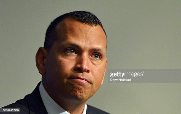 Alex Rodriguez of the New York Yankees answers question in a press conference after the game against the Tampa Bay Rays at Yankee Stadium on August...