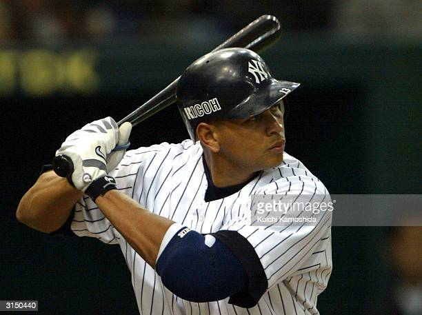 Alex Rodriguez of the New York Yankees at bat against the Hanshin Tigers during an exhibition game March 29 2004 at Tokyo Dome in Tokyo Japan