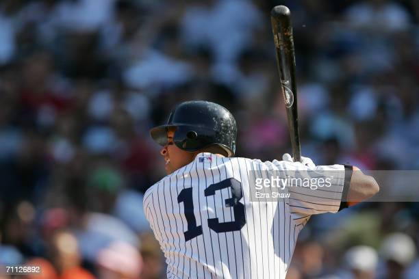 Alex Rodriguez of the New York Yankees bats against the Kansas City Royals at Yankee Stadium on May 27 2006 in the Bronx New York The Yankees...
