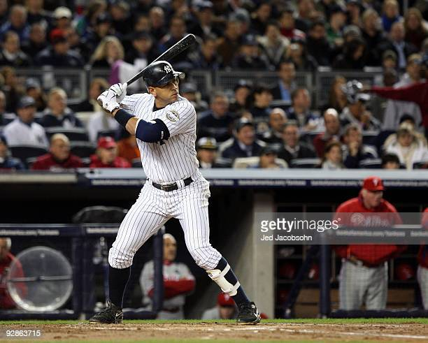 Alex Rodriguez of the New York Yankees bats against the Philadelphia Phillies in Game Six of the 2009 MLB World Series at Yankee Stadium on November...