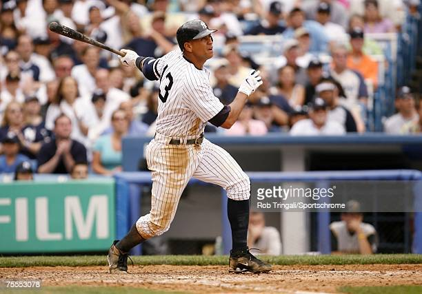 Alex Rodriguez of the New York Yankees bats against the Pittsburgh Pirates on June 9 2007 at Yankee Stadium in the Bronx borough of New York City