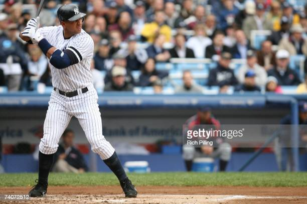 Alex Rodriguez of the New York Yankees bats during the game against the Cleveland Indians at the Yankee Stadium in the Bronx New York on April 19...