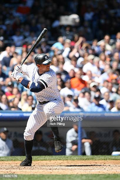 Alex Rodriguez of the New York Yankees bats during the game against the Seattle Mariners at Yankee Stadium in the Bronx New York on May 6 2007 The...