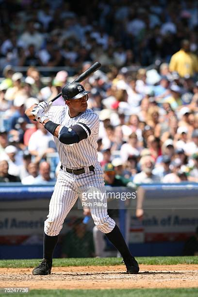 Alex Rodriguez of the New York Yankees bats during the game against the Oakland Athletics at the Yankee Stadium in the Bronx New York on June 30 2007...