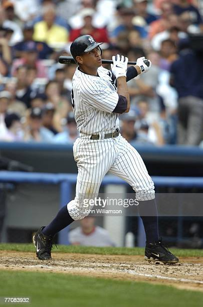 Alex Rodriguez of the New York Yankees bats during the game against the Boston Red Sox at the Yankee Stadium in the Bronx New York on August 30 2007...