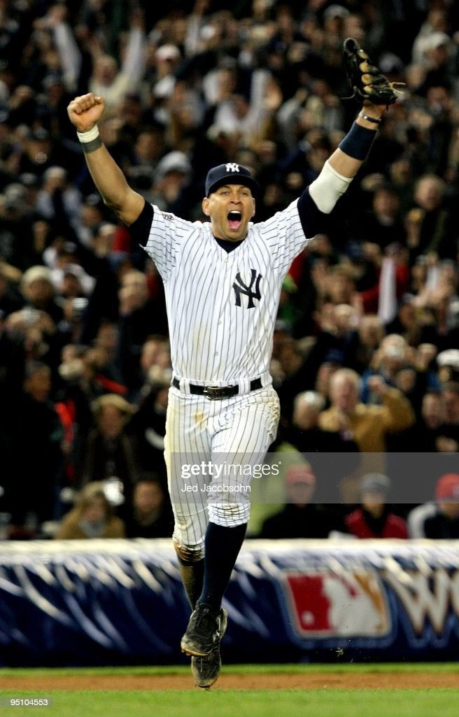 Alex Rodriguez #13 of the New York Yankees celebrates after their 7-3 win against the Philadelphia Phillies in Game Six of the 2009 MLB World Series at Yankee Stadium on November 4, 2009 in the Bronx borough of New York City.