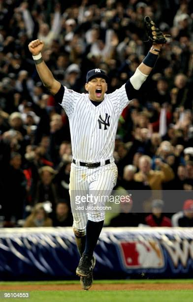Alex Rodriguez of the New York Yankees celebrates after their 73 win against the Philadelphia Phillies in Game Six of the 2009 MLB World Series at...