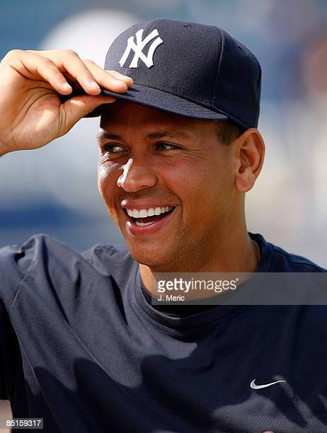 Alex Rodriguez of the New York Yankees does an interview prior to the start of the Grapefruit League Spring Training Game against the Minnesota Twins...