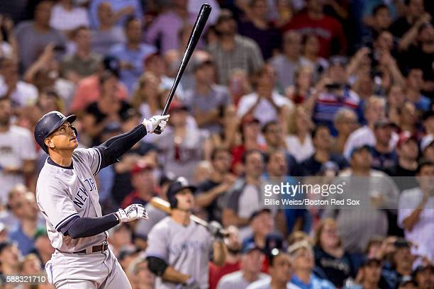 Alex Rodriguez of the New York Yankees flies out during a pinchhit appearance during the seventh inning of a game against the Boston Red Sox on...
