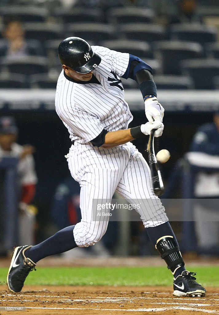 Alex Rodriguez #13 of the New York Yankees gets a hit in the first inning against the Boston Red Sox during their game on October 2, 2012 at Yankee Stadium in the Bronx borough of New York City