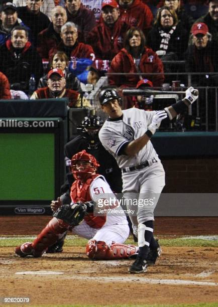 Alex Rodriguez of the New York Yankees hits a RBI double in the eighth inning against the Philadelphia Phillies in Game Five of the 2009 MLB World...