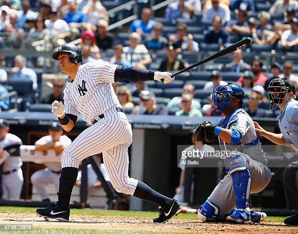 Alex Rodriguez of the New York Yankees hits a threerun home run against Chris Young of the Kansas City Royals in the third inning during their game...
