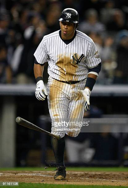 Alex Rodriguez of the New York Yankees hits a two run home run against the Boston Red Sox during the game on September 25 2009 at Yankee Stadium in...