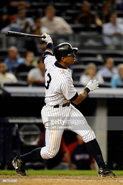 Alex Rodriguez of the New York Yankees hits a walk off home run against the Boston Red Sox in the 15th inning on August 7 2009 at Yankee Stadium in...