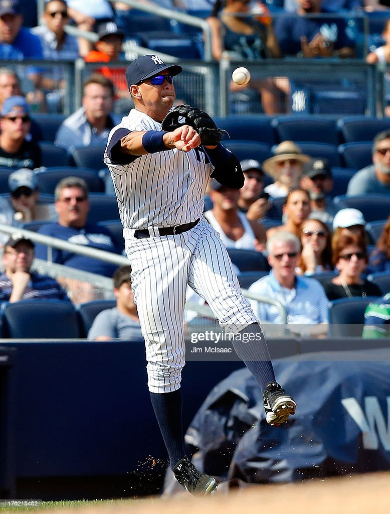 Alex Rodriguez #13 of the New York Yankees in action against the Detroit Tigers at Yankee Stadium on August 11, 2013 in the Bronx borough of New York City. The Yankees defeated the Tigers 5-4.