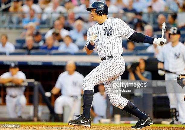 Alex Rodriguez of the New York Yankees in action against the Houston Astros at Yankee Stadium on August 24 2015 in the Bronx borough of New York City...