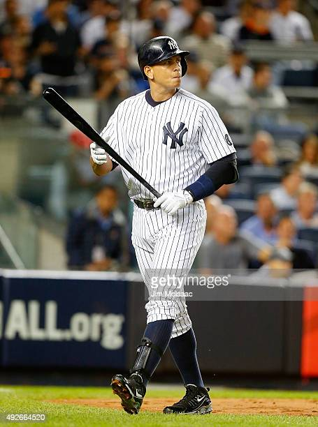 Alex Rodriguez of the New York Yankees in action against the Houston Astros during the American League Wild Card Game at Yankee Stadium on October 6...