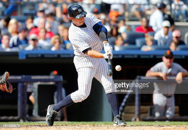 Alex Rodriguez of the New York Yankees in action against the San Francisco Giants at Yankee Stadium on September 21 2013 in the Bronx borough of New...