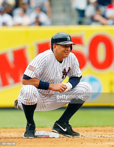 Alex Rodriguez of the New York Yankees in action against the Tampa Bay Rays at Yankee Stadium on July 4 2015 in the Bronx borough of New York City...