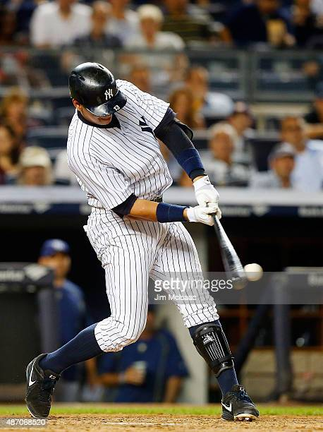 Alex Rodriguez of the New York Yankees in action against the Tampa Bay Rays at Yankee Stadium on September 4 2015 in the Bronx borough of New York...