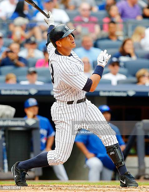 Alex Rodriguez of the New York Yankees in action against the Toronto Blue Jays at Yankee Stadium on September 12 2015 in the Bronx borough of New...