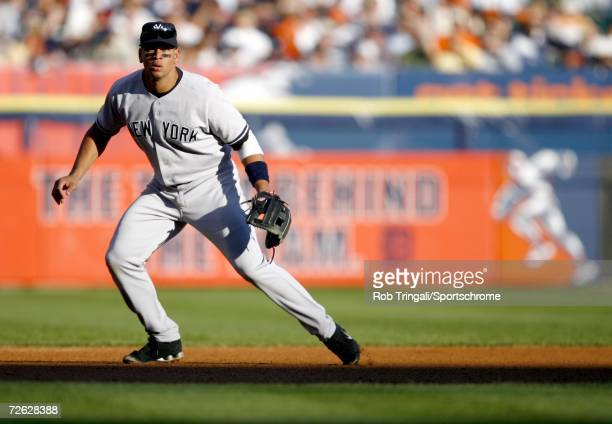 Alex Rodriguez of the New York Yankees in the field against the Detroit Tigers during Game Four of the 2006 American League Division Series on...