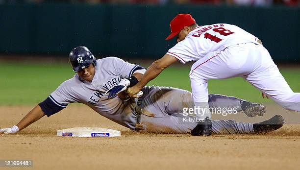 Alex Rodriguez of the New York Yankees is tagged out at second base by Orlando Cabrera of the Los Angeles Angels of Anaheim during 53 loss in...