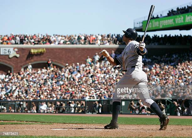 Alex Rodriguez of the New York Yankees launches his ninthinning gametying homer against the San Francisco Giants at ATT Park June 23 2007 in San...
