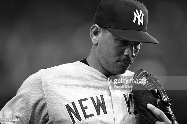 Alex Rodriguez of the New York Yankees looks on against the Washington Nationals at Nationals Park on May 19 2015 in Washington DC The Washington...